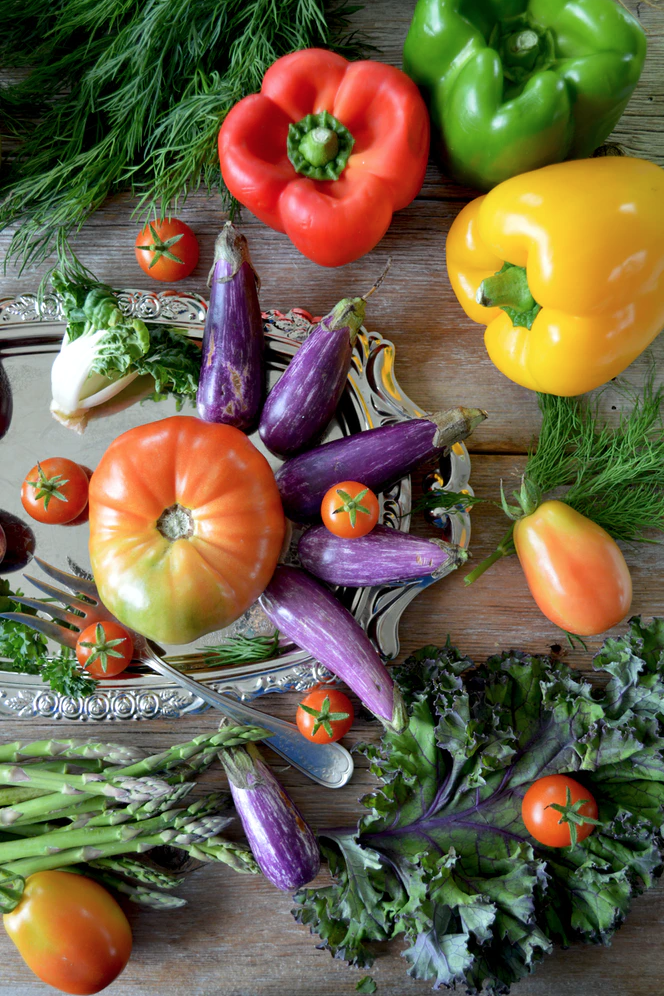 tomatoes, peppers and eggplants